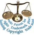 Scale IP rights legal justice concept vector image vector image