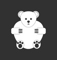 white icon on black background teddy bear vector image vector image