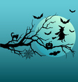 Halloween witch and flying bats vector image vector image