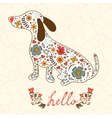 Concept hello card with floral badger dog vector image vector image