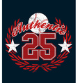 Baseball authentic jersey distressed print vector image