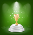 Football cup on podium light background vector image