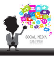 man with chat bubble of social media icons network vector image