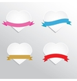 Paper hearts with ribbons vector image