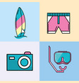 surfboard with swimsuit and camera with mask vector image