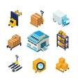 Warehouse and Logistics Equipment Icon Set Flat vector image