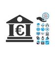 Euro Bank Building Flat Icon With Bonus vector image