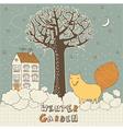 Winter Garden Fox Card vector image vector image