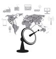 satellite dish data transmitter global service vector image