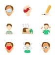 Emotional feelings icons set cartoon style vector image