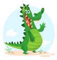 cartoon shy crocodile vector image