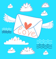 greeting the envelope with love vector image vector image