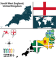 South West England with flags vector image