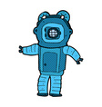 Comic cartoon deep sea diver vector image