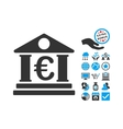 Euro Bank Building Flat Icon With Bonus vector image