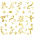 Flower and insect yellow doodle art vector image