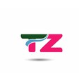 Letter t and z logo vector image