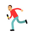 male reporter character runnung with a microphone vector image