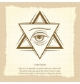 Vintage double triangle and eye sign vector image