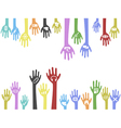 background of hands with web icons vector image
