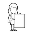 caricature thick contour faceless full body woman vector image