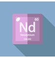 Chemical element Neodymium Flat vector image