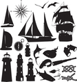 marine silhouettes vector image