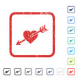arrow heart icon rubber watermark vector image