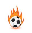 Football balls in orange fire flames vector image