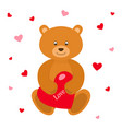 teddy bear with red heart greeting card vector image