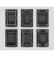Black chalkboard cards with vintage frame vector image