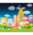 A spaceship above the buildings vector image vector image