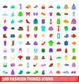 100 fashion things icons set cartoon style vector image