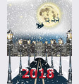 2018 card cityscape road background winter snowy vector image
