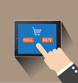 hand of businessman touching SELL AND buy on vector image