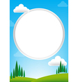 Blank Circle with blue sky and green field vector image