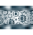Blue chrome gears mechanism background vector image