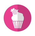 cupcake with a strawberry on the top vector image
