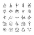 doodle icons set of celebration and party vector image