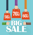 flat modern design big sale shopping bag vector image