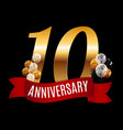 golden 10 years anniversary template with red vector image