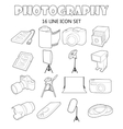 Photography icons set outline style vector image