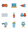 private movie event icons set cartoon style vector image