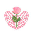 valentines day card with pink rose and heart vector image