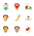 Human feelings icons set cartoon style vector image