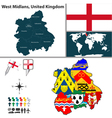 West Midlands with flags vector image