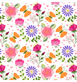 Springtime Colorful Flower and Butterfly Pattern vector image vector image