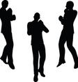 boxer businessman silhouette vector image