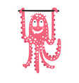 Cute cartoon pink octopus character training on a vector image