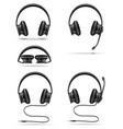 realistic black headphones stock vector image